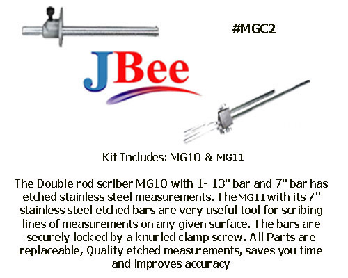 "Scriber  #MGC2 Combination Set Engraved Stainless steel bar 1-MG11 7"" S.S. Bar & 1-MG10 7""&13"" S.S. Bars"